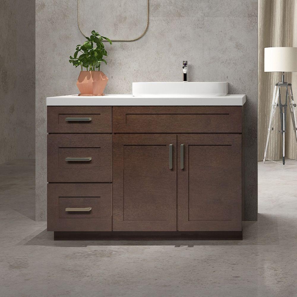 Cowry Shaker Style Bathroom Vanity Base with 15in Side