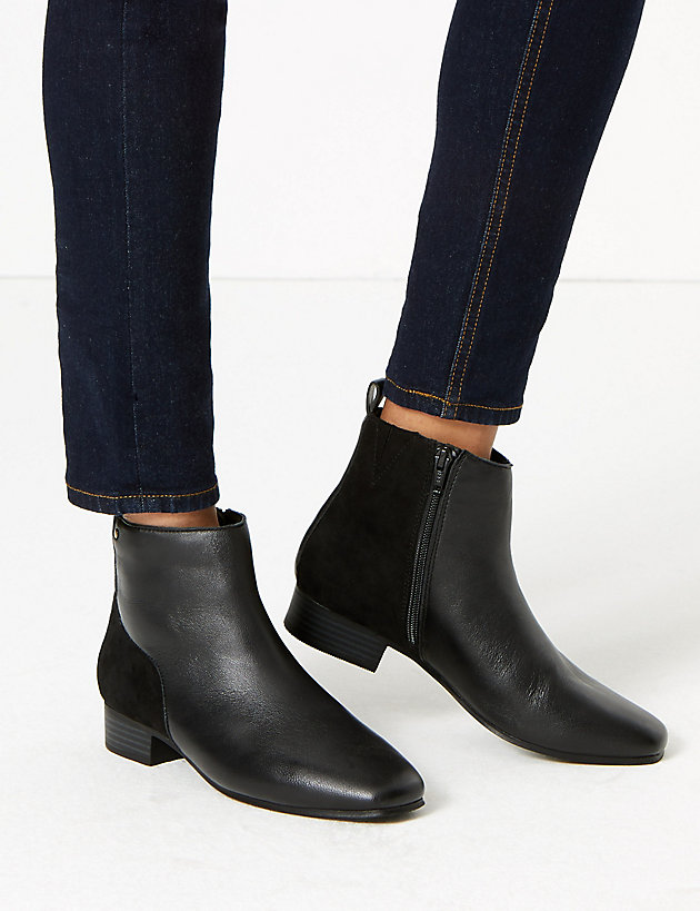 Leather \u0026 Suede Square Toe Ankle Boots