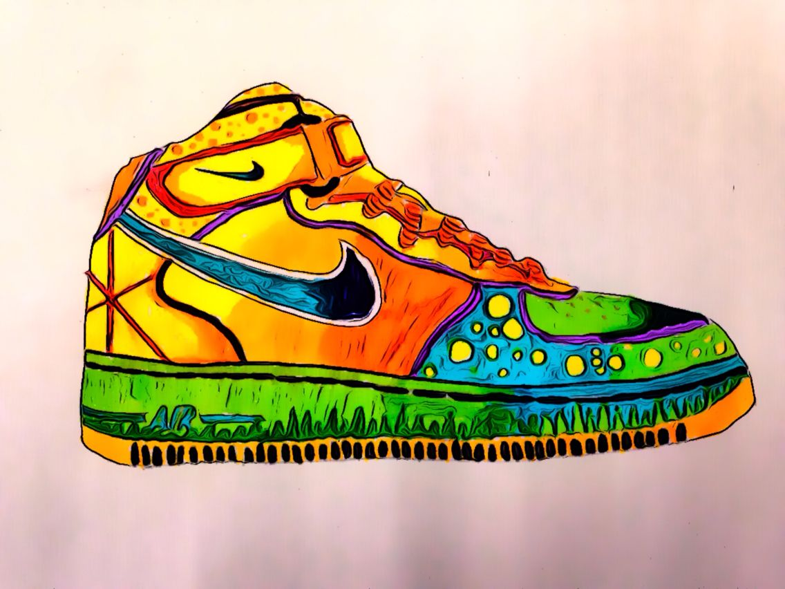 Nike Air Force One's designed using pens and pencils and edited using the  Camera 360 app