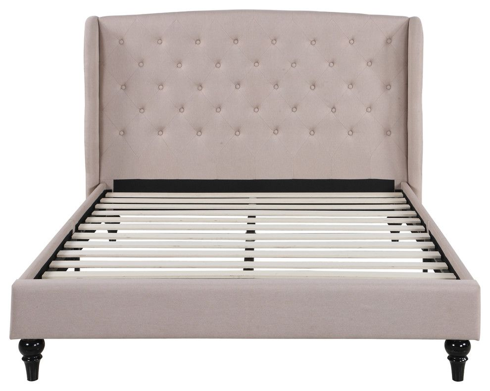 Low Profile Bed Frame Tufted Headboard Traditional Platform Beds