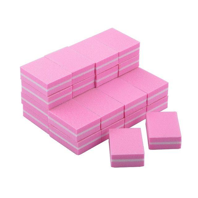20Pcs/Lot Mini Nail Art Buffing File Block Pink Sponge Nail File ...