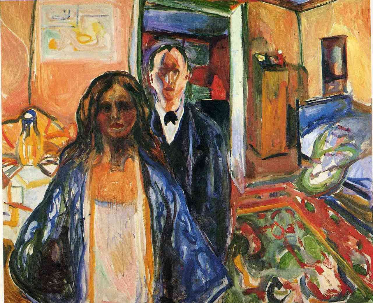 Edvard Munch, The Artist and His Model, 1919-1921