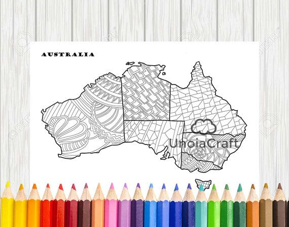 Australia map coloring page map coloring sheets pdf for Australia map coloring page