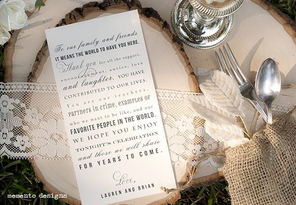 Vintage Typography Thank You Place Card Note For Wedding Table Setting By Memento Designs