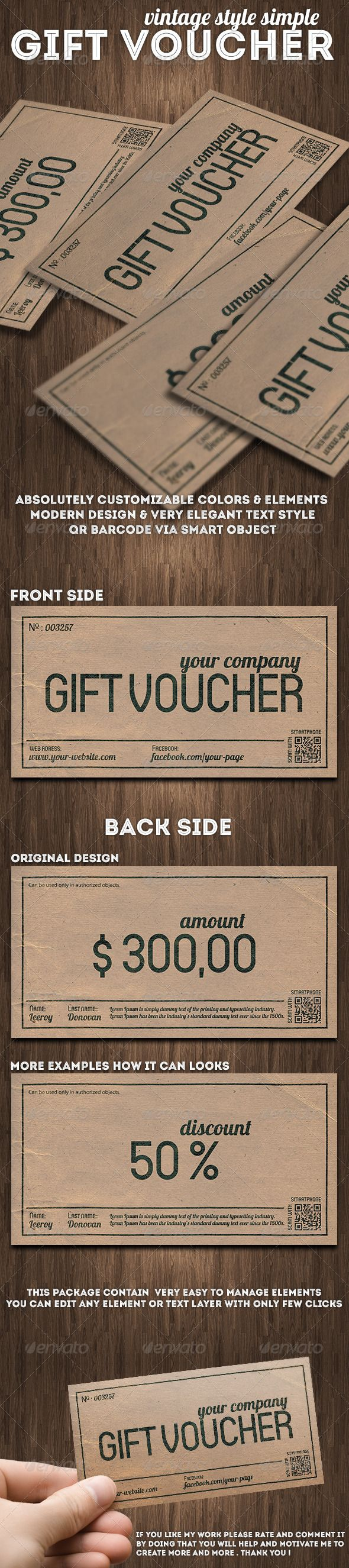 Elvira v2 double sided gift certificate template by deideigraphic vintage style gift voucher or discount coupon xflitez Images