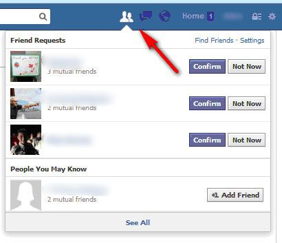 People You May Know location at the top menu bar   Good to Know