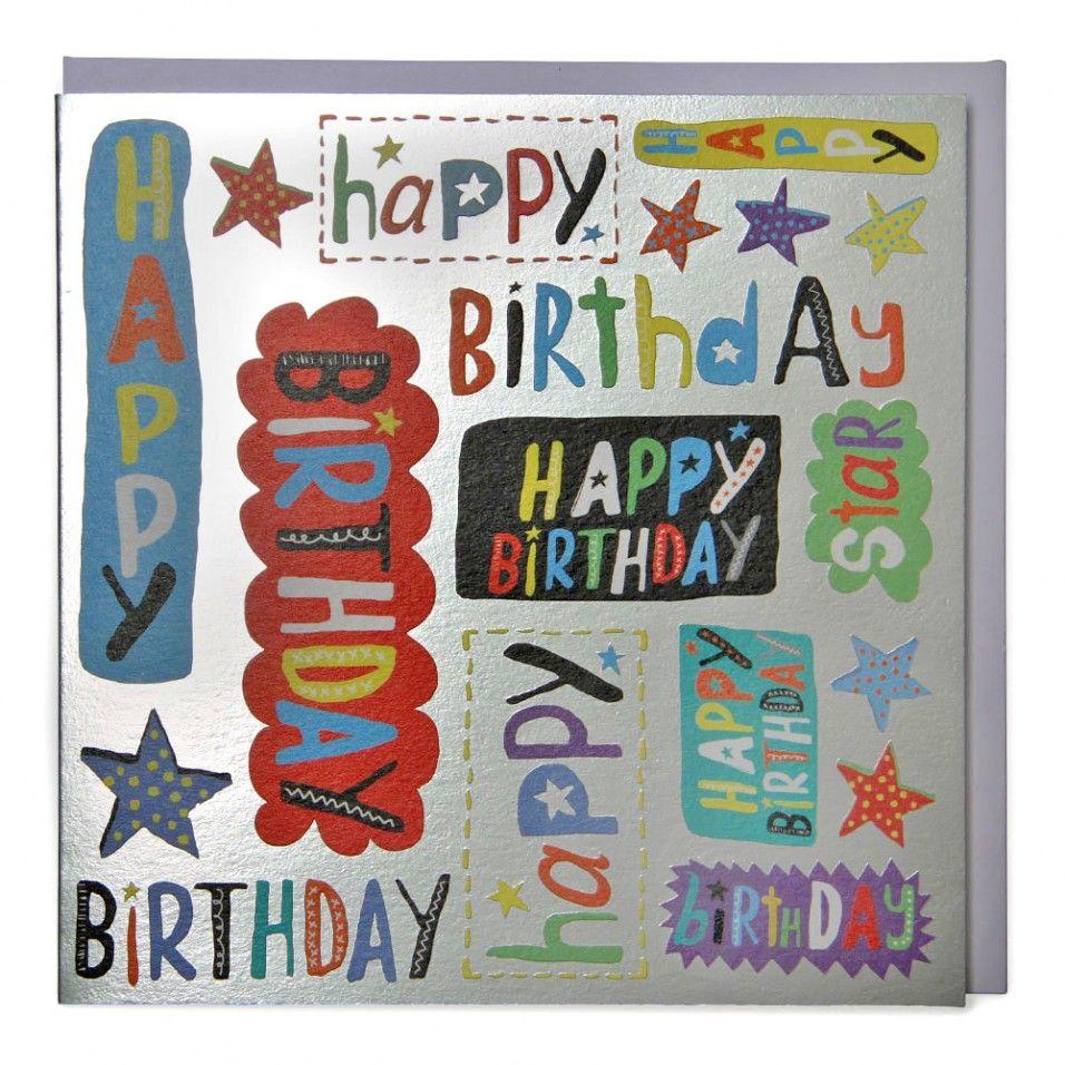 Silver Happy Birthday Cards At Paperchase Den Rozhdeniya