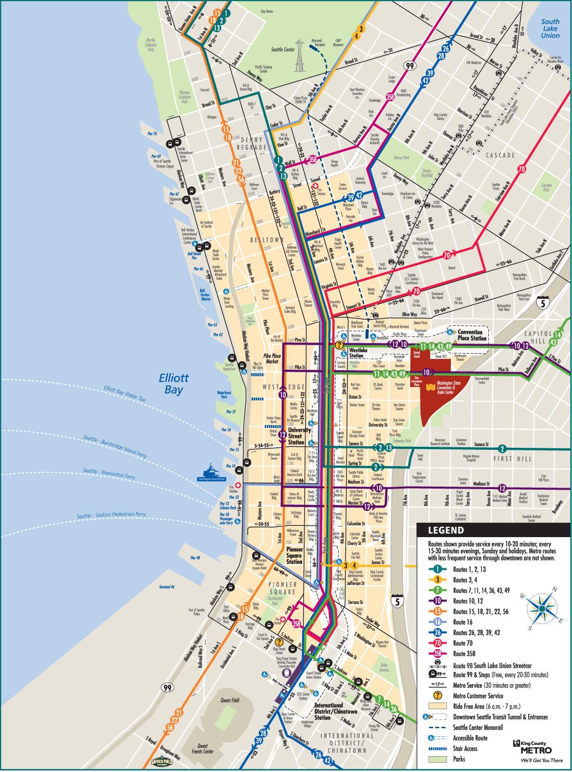Seattle Downtown Metro Map Mapsof Net Seattle 2016 In