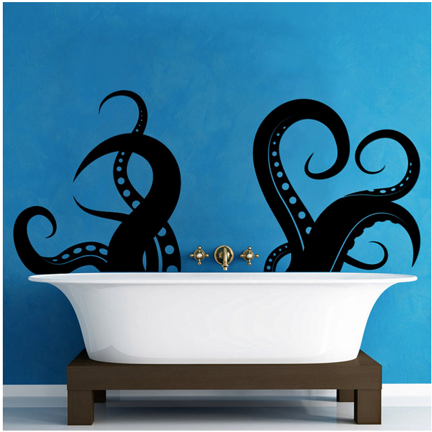 Release the kraken! Stencils turn a simple tub into a maritime adventure.