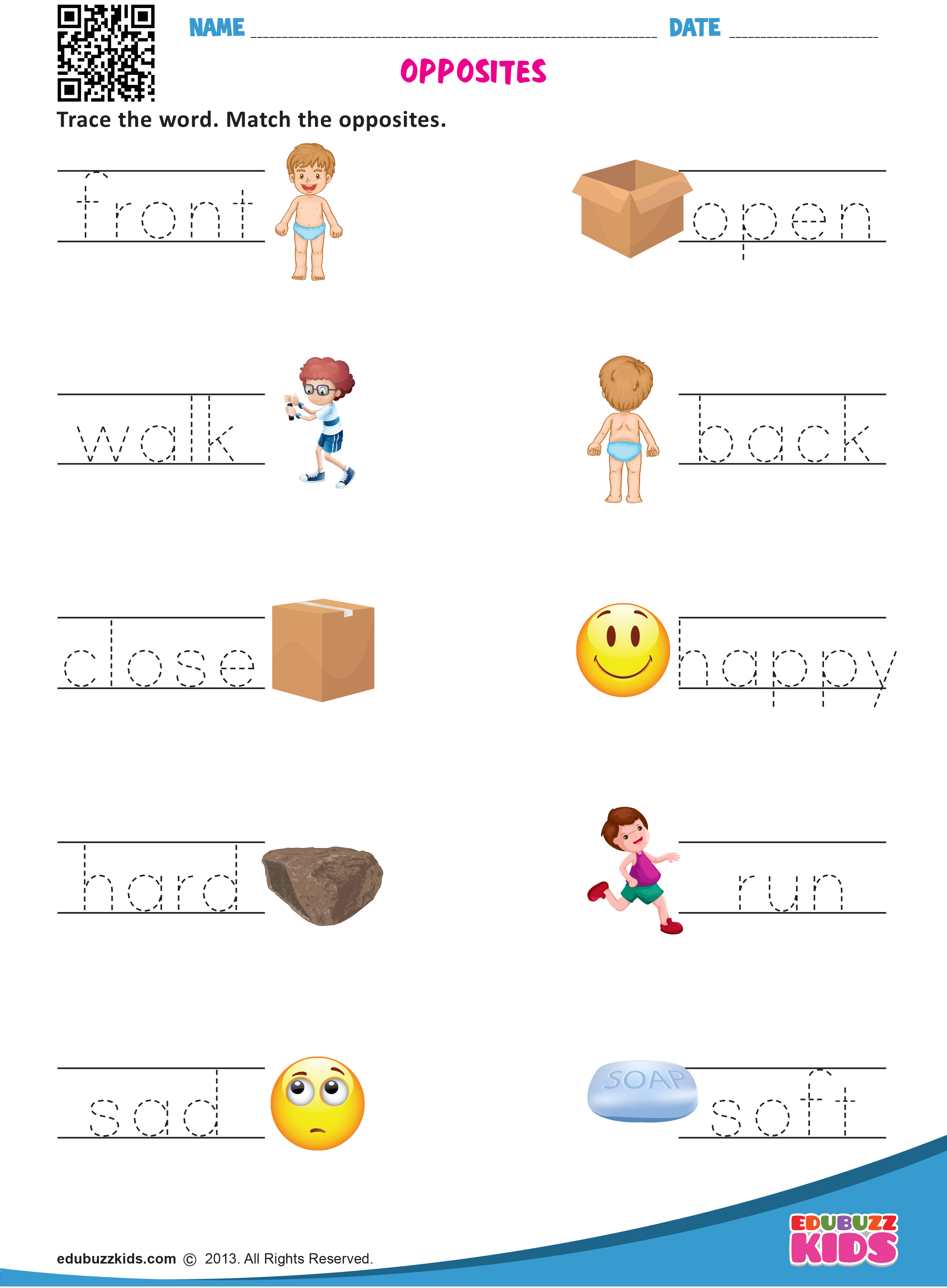 Printable English Opposite Words Worksheets For Preschool