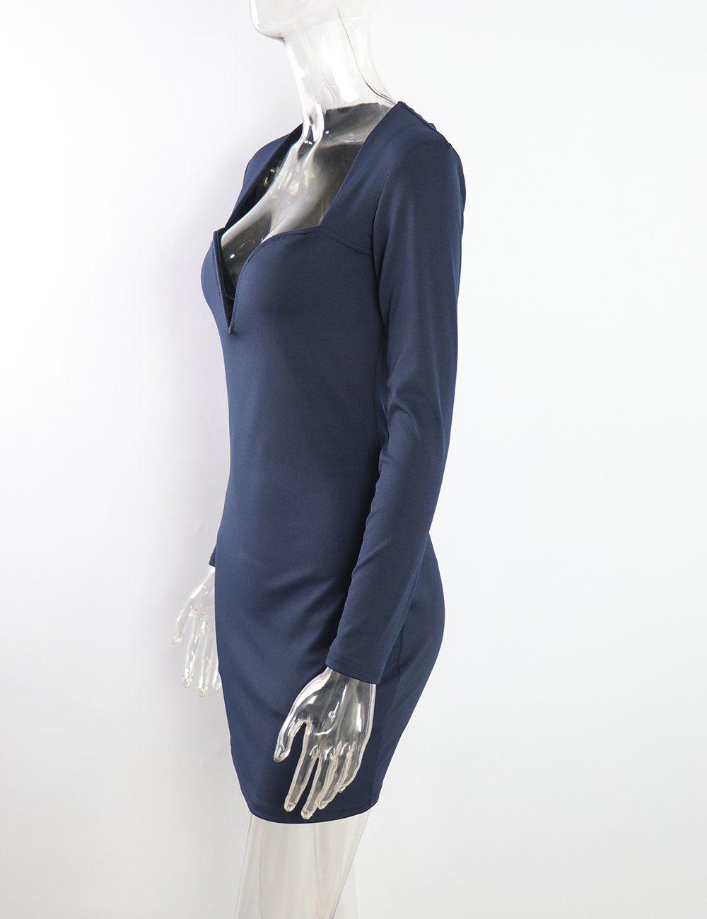 b1116869bc7 UZZDSS UD2605RoyalBlueS Sexy Low Cut Mini Bodycon Club Party Dress Black  White Red Blue Women Long Sleeve Sheath Autumn Dress -- See this fantastic  item.