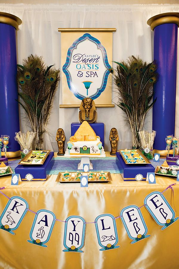 """""""Jewel of the Nile"""" Egyptian Spa Party Dessert Table"""