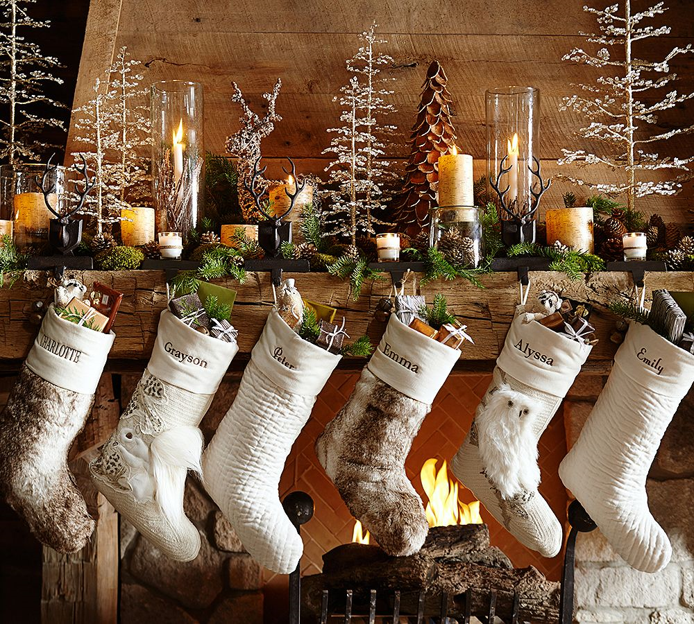 Woodland Christmas Stockings By Pottery Barn Use Front Space Of Display Use L Pottery Barn Christmas Christmas Decorations Rustic Pottery Barn Christmas Decor