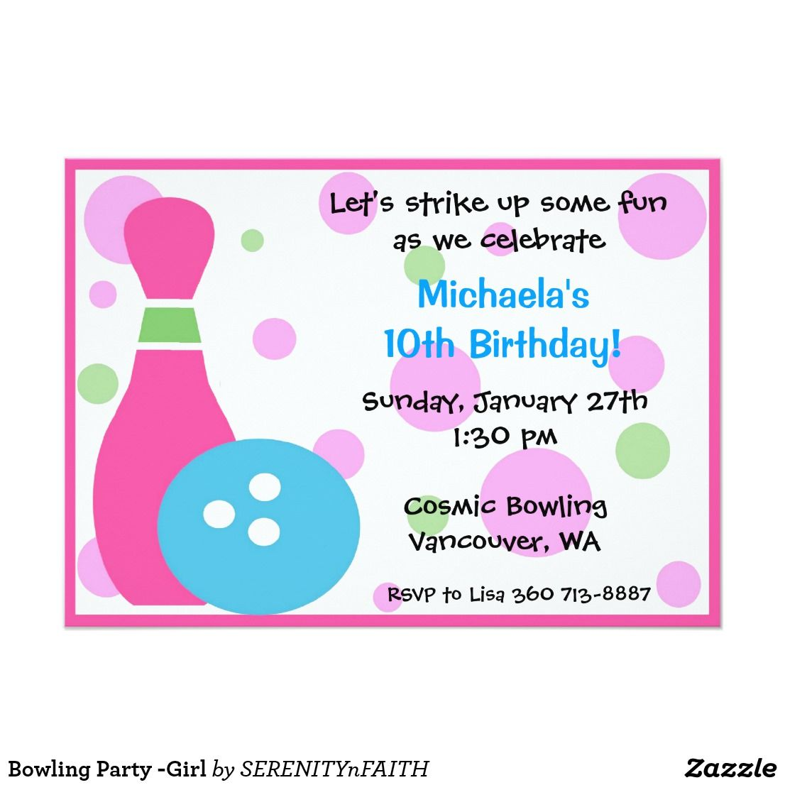 Bowling Party -Girl Card | Bowling party