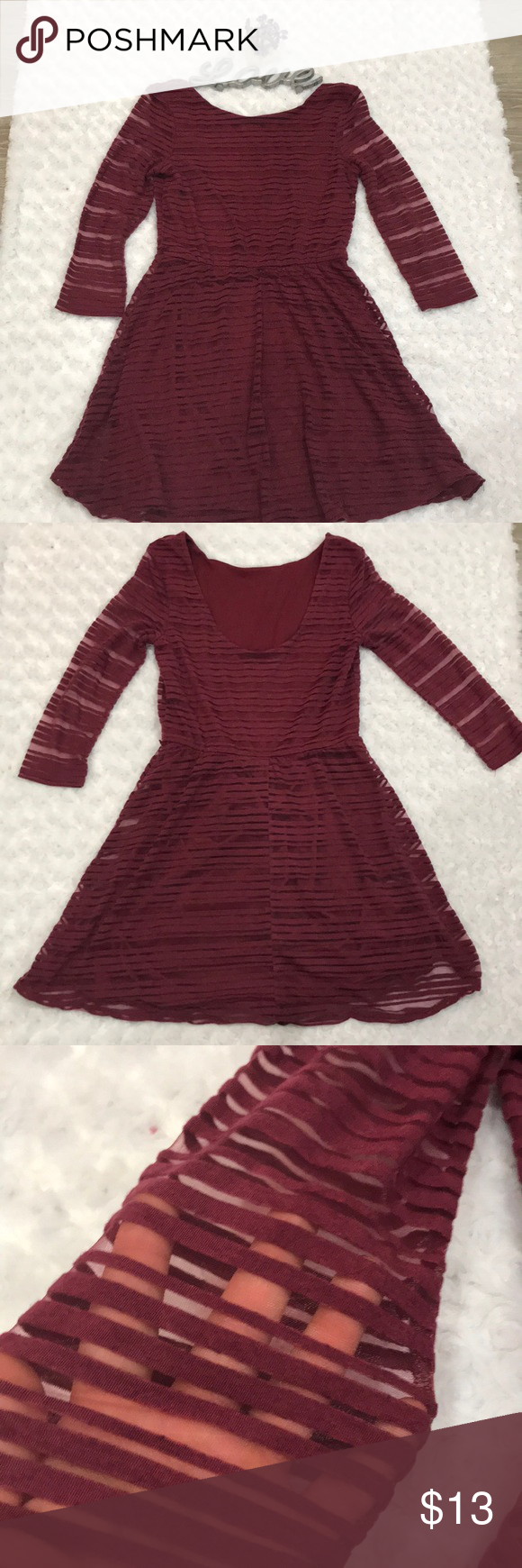 c8ff7928fa791b Lily Rose- Burgundy Dress - 3/4 Sleeve - Medium Cute dress, full ...