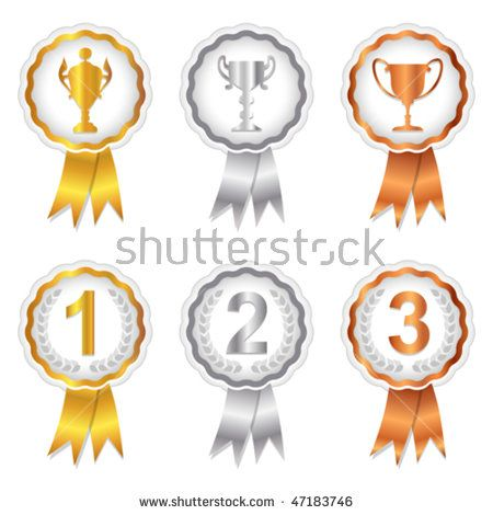 Vector Gold Silver And Bronze Rosette Badges With Trophy And Place Numbers For 1st 2nd And 3rd Jpg And Certificate Design Template Art Logo Botanical Prints