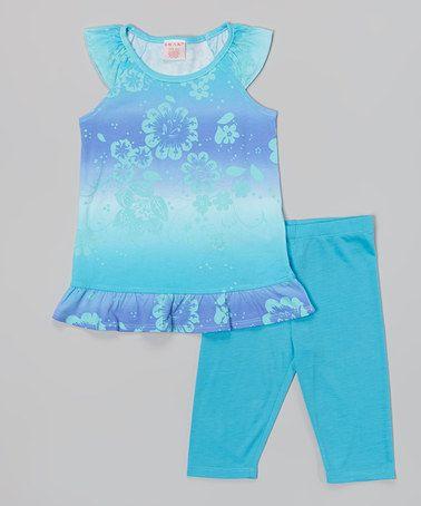 Loving this Blue & Green Dip-Dye Stripe Tunic & Capri Leggings - Girls on #zulily! #zulilyfinds