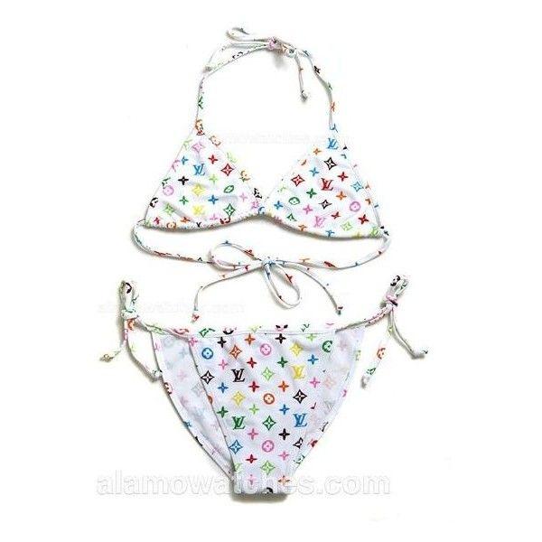 e39790ab32 Louis Vuitton Swimsuit (Bikini) White Murakami Monogram Medium ❤ liked on  Polyvore featuring swimwear, bikinis, monogrammed bathing suits, white  swimsuit ...