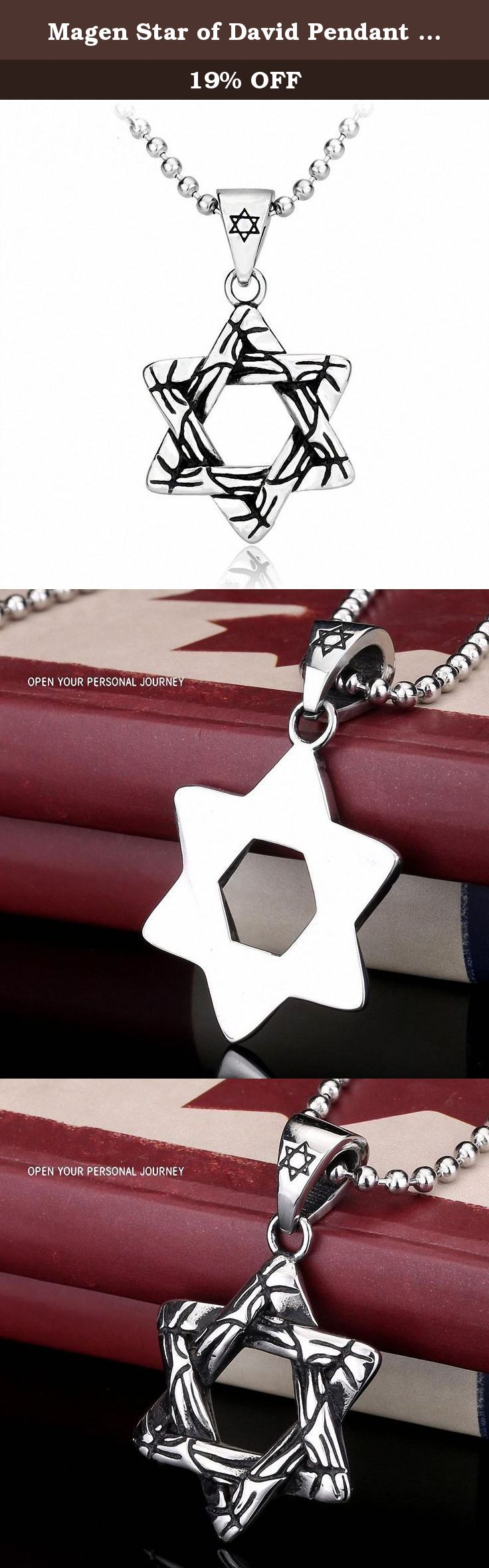 Magen Star of David Pendant Necklace Women Men Chain Stainless Steel Necklace. Fashion Jewelry.