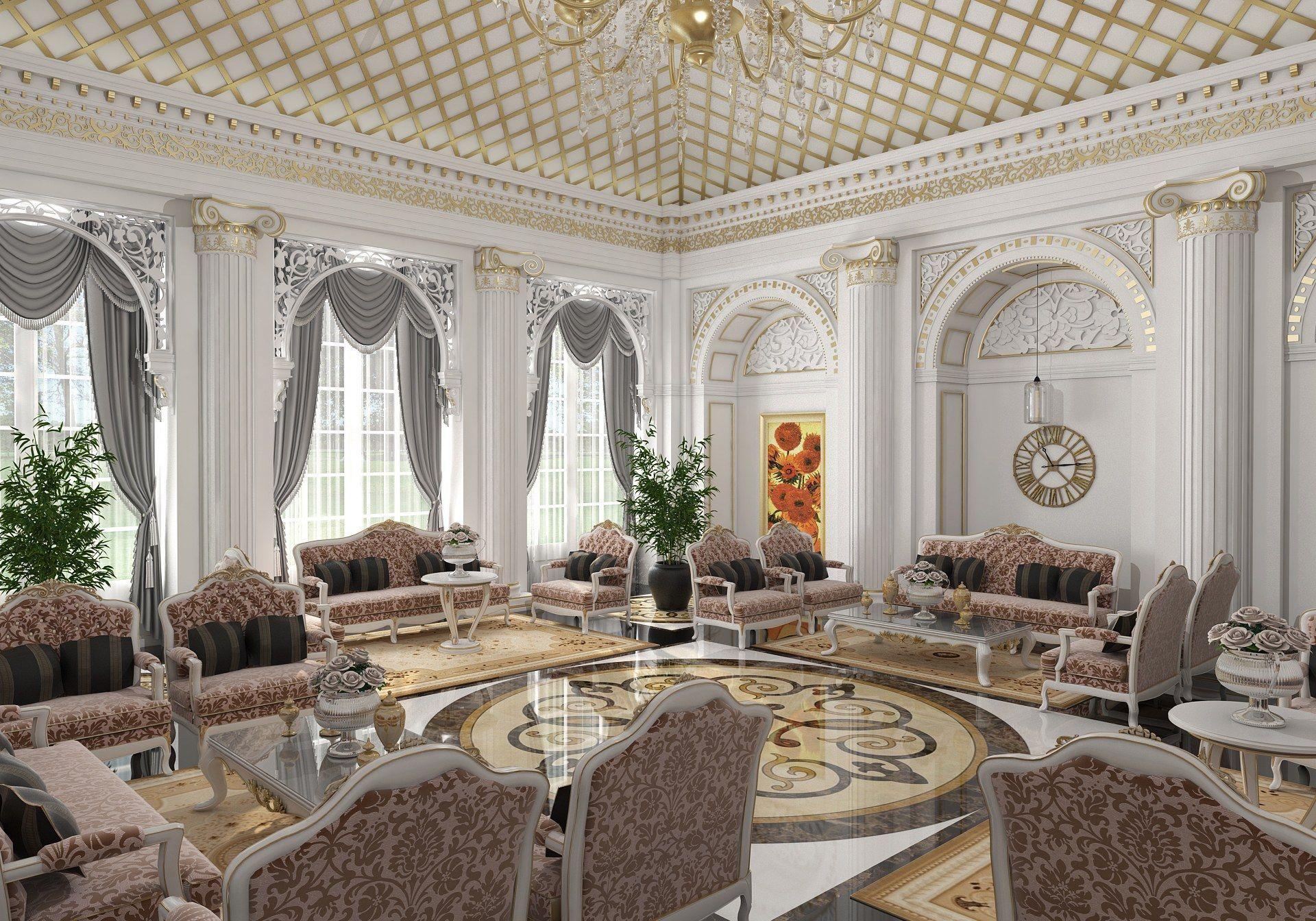 Classic living room 3d model free download home design - Classic home interior design photos ...