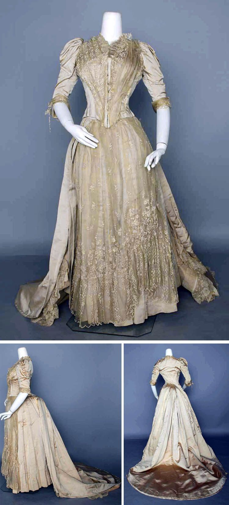 Wedding dress, 1880. Bonecolored silk with lace. Two