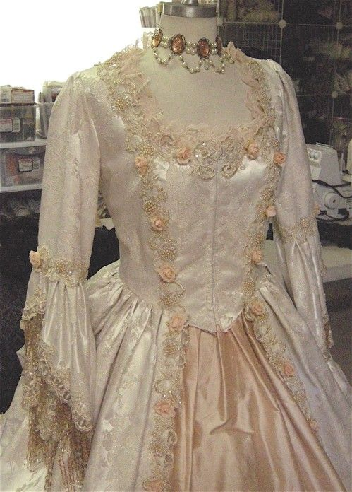 Custom Fantasy Marie Antoinette Victorian/Antique-Style Gown with Flowers