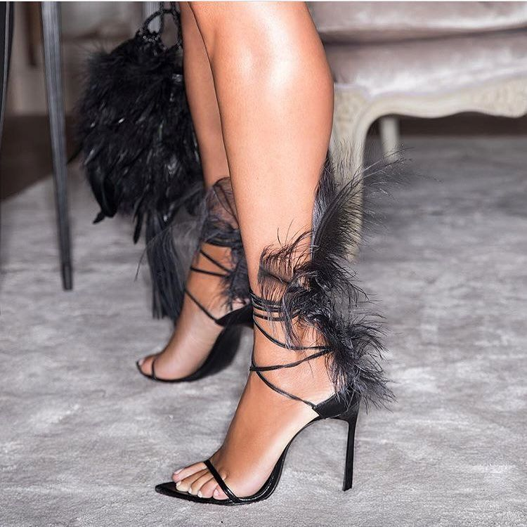 4bc526bc2eee One for our High Heel Hot List!  marjorie harvey in  ysl Talitha Feathered  LeatherSandals 🖤