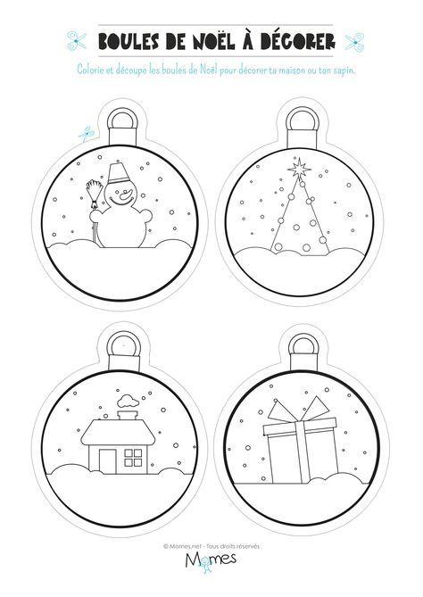 Dessin A Colorier Boule De Noel Boules Noël à colorier et imprimer | Coloriage boule de noel