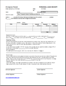 19 Templates Of Personal Use For Word Excel Personal Loans Receipt Template Loan
