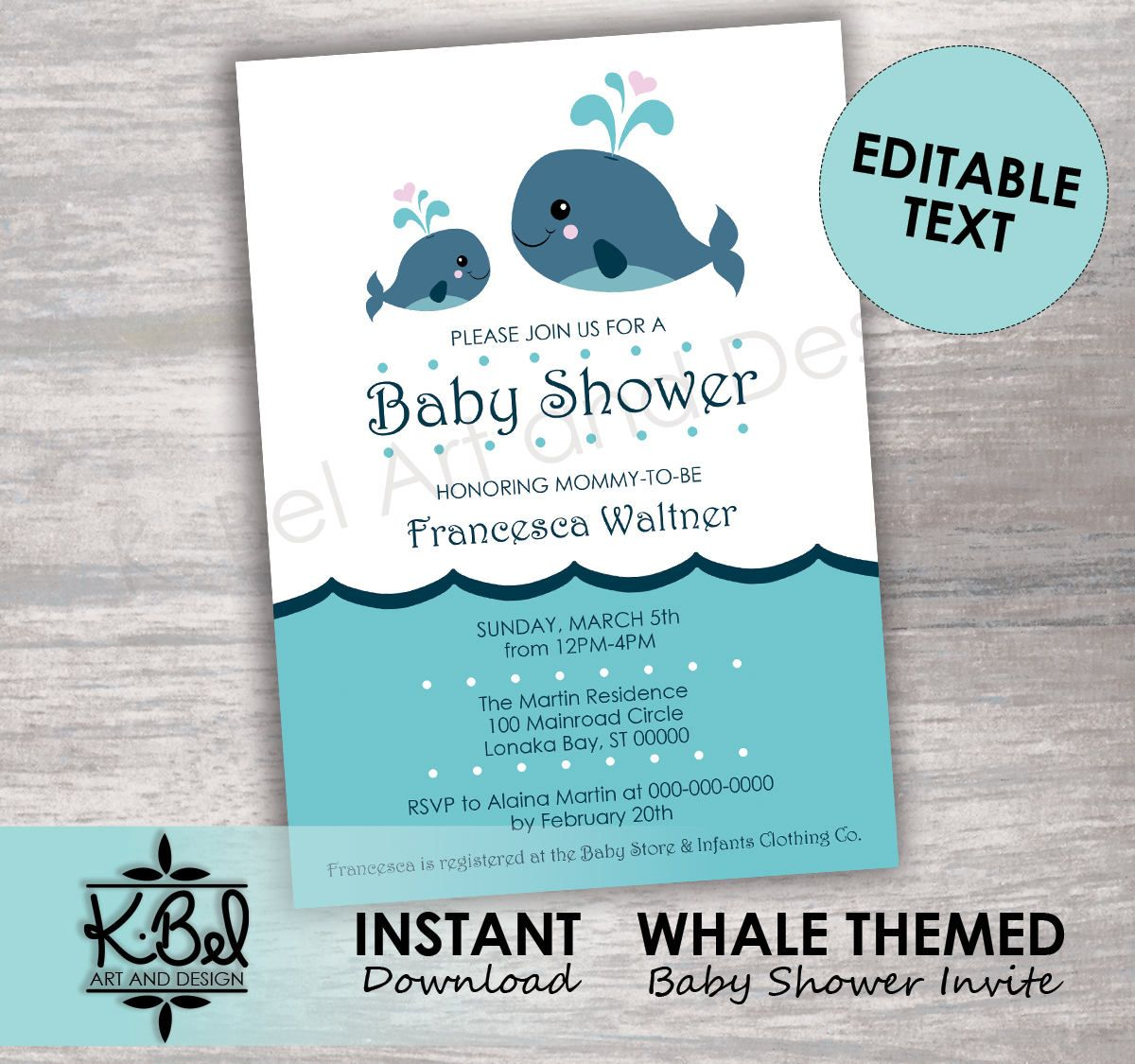 Printable whale themed baby shower invitations editable baby printable whale themed baby shower invitations editable baby shower invite aqua blue instant download digital download diy by kbeldigital on etsy filmwisefo
