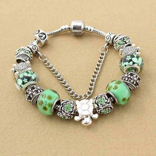 Antique Silver Sea turtles Charm Bracelet