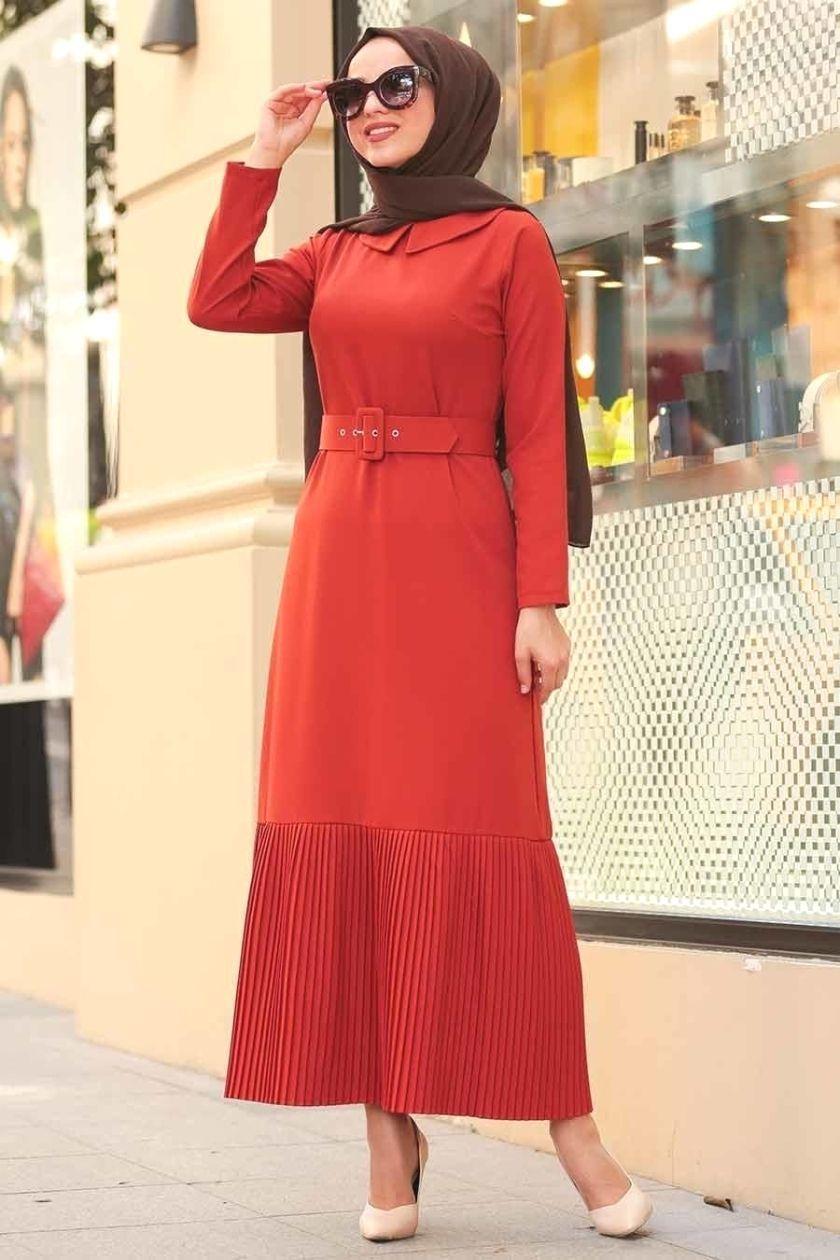 Neva Style Neva Style Kemerli Kiremit Tesettur Elbise 5021krmt Red Dress Women Red Dress Dresses