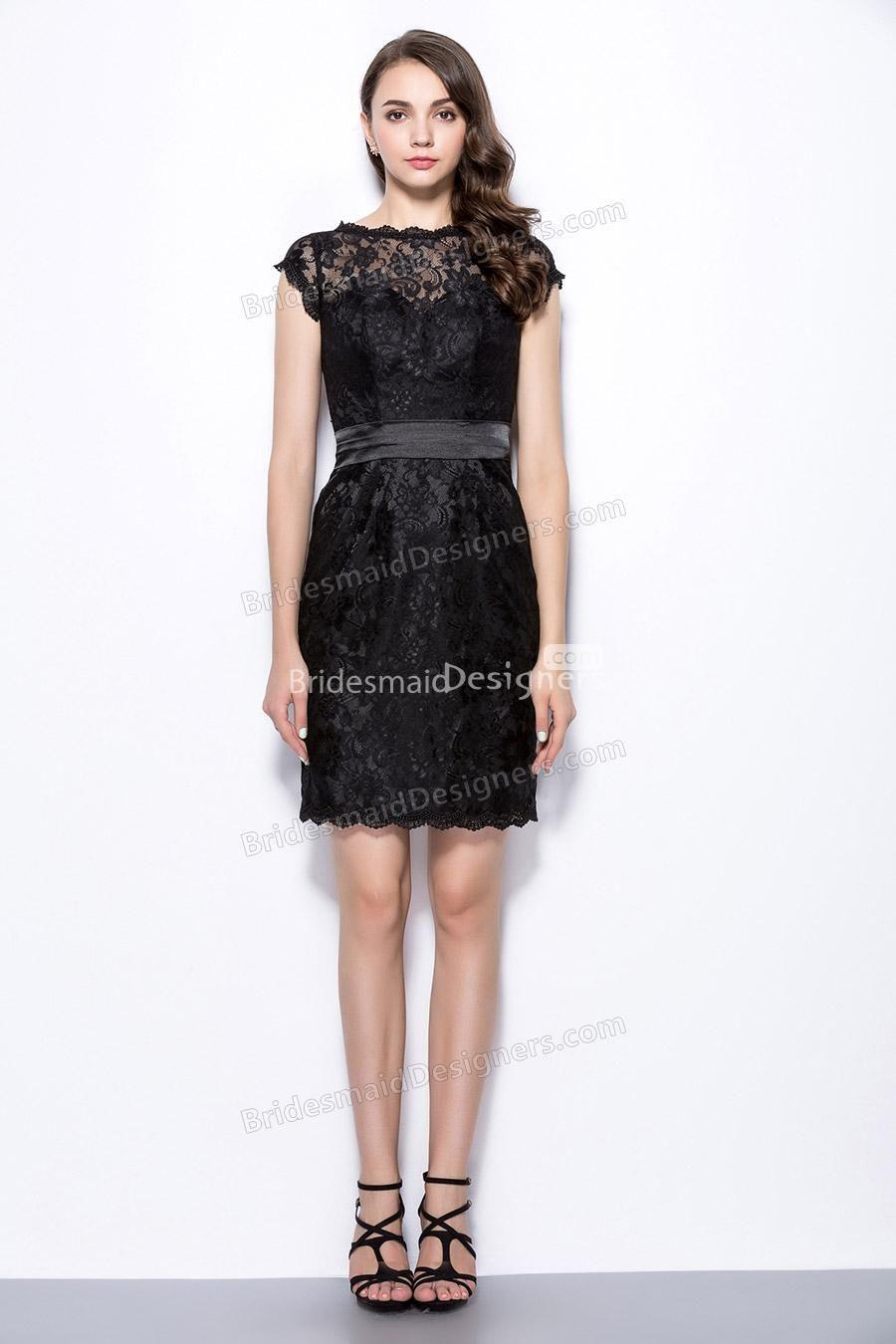 Illusion cap sleeve black sheath shortlacebridesmaiddress cute