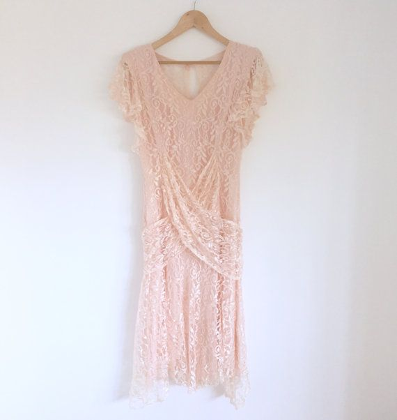 Peach 80s Lace Dress / 20s Style Flapper Drop Waist Midi Dress with Bow / Gatsby Pink Cocktail Party Dress / Deep V Back Dress Sz Sm / Md  This is a