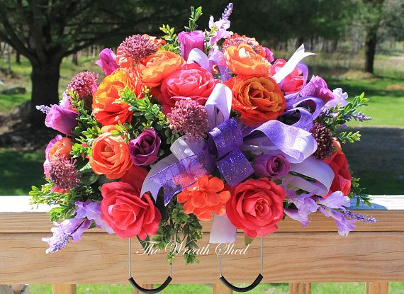 FREE SHIPPING, Cemtery Flowers, Flower Cemetery Saddle, Tombstone Topper, Headstone Spray, Artificial Flower Arrangement, Headstone Topper