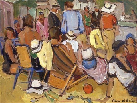 Scène de plage par Pierre deBelay | Pierre, Peintre, Toile