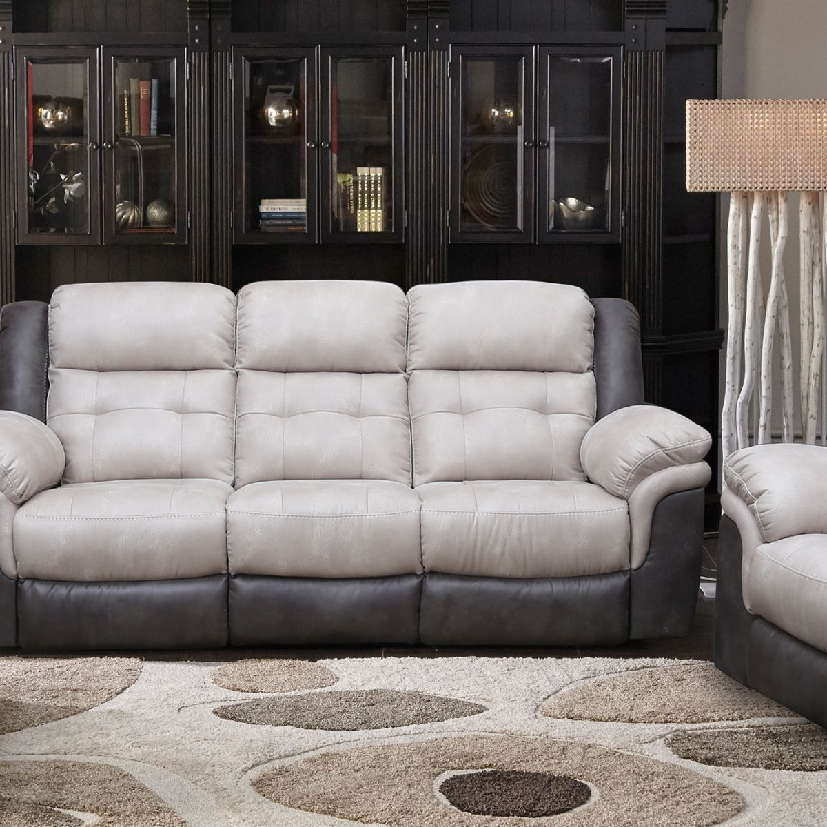 Best Badcock More Boulder Grey Reclining Sofa Loveseat 400 x 300