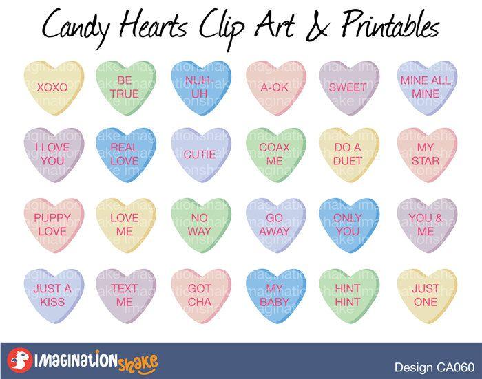 Candy Hearts Valentine S Day Clip Art Printables Set Love Hearts Valentine S Day Classroom Wall Decorations C Clip Art Heart Candy Classroom Wall Decor