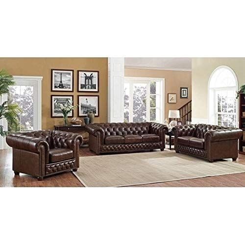 coja yuma brown leather tufted sofa loveseat and chair