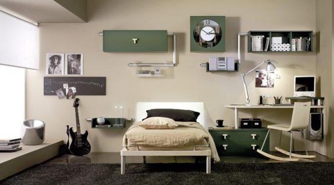 Schon Junge Zimmer Beige Olivengrün Ideen Industriell