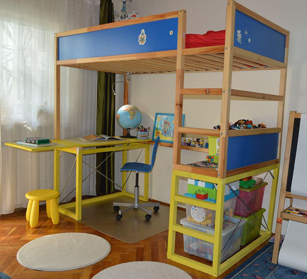 Our son will start the first class at school and we decided we had to make room for a desk. We hacked KURA Bed with study desk ...