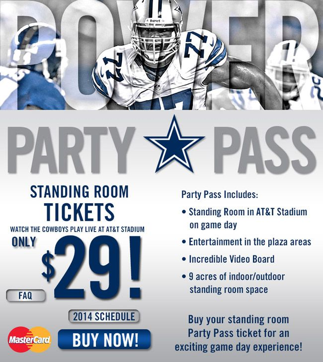 Cool Idea By The Dallas Cowboys With This Party Pass Standing Only But 29 For A Nfl Game Is Great Value Inclu Sports Marketing Fan Engagement Sports Business