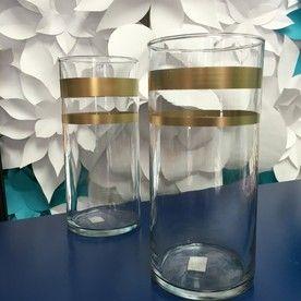 Glass cylinder vase with Gold Stripes
