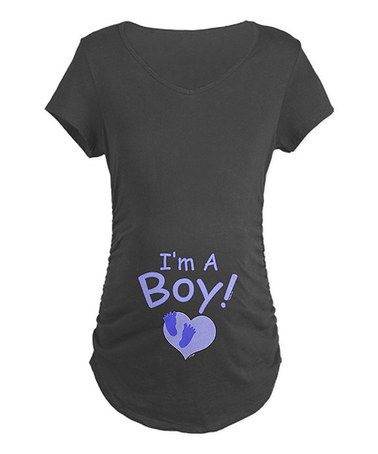 Take a look at this Charcoal 'I'm A Boy' Maternity Tee - Women by CafePress on #zulily today!