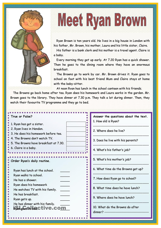 worksheet Esl Reading Comprehension Worksheets meet ryan brown dream english room pinterest met and worksheet free esl printable worksheets made by teachers