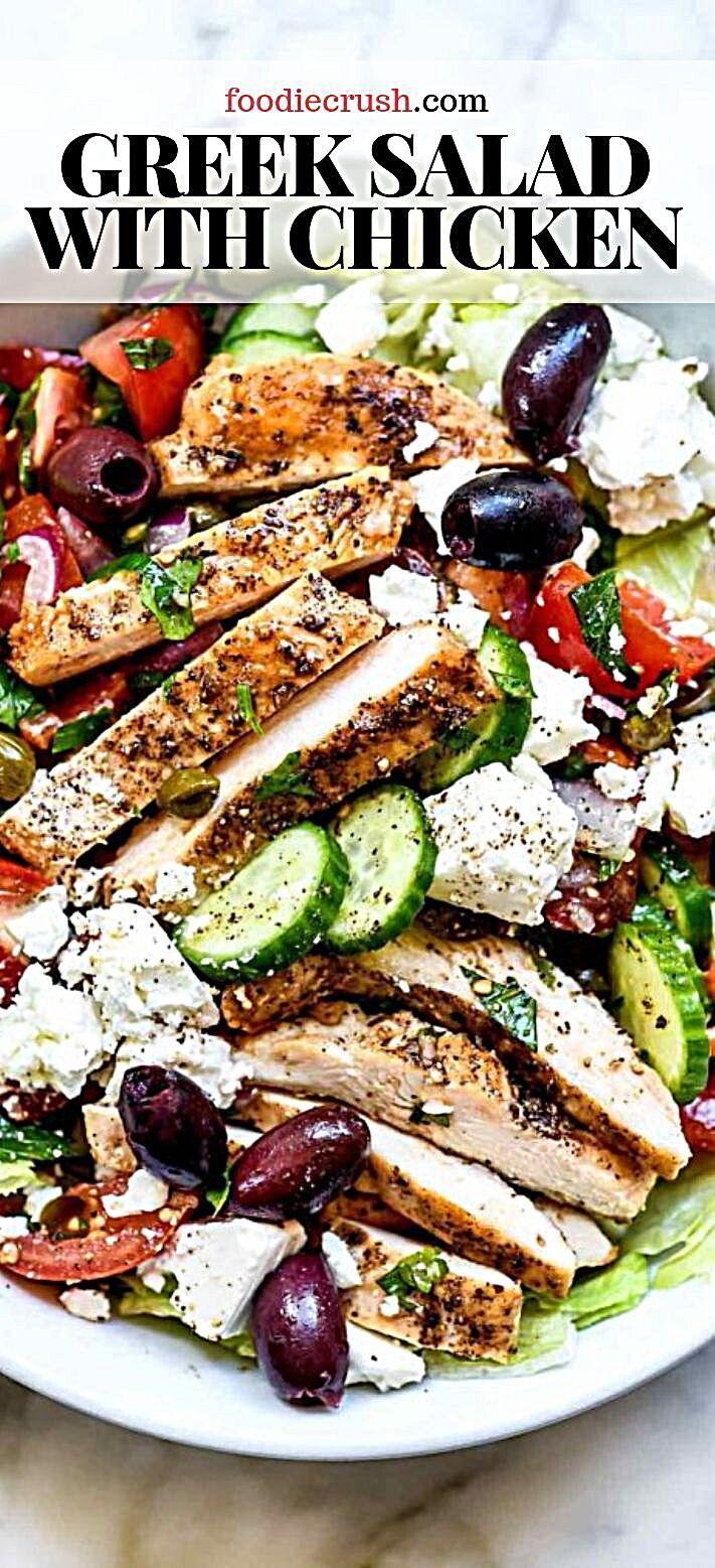 Photo of Greek Salad with Chicken | foodiecrush.com #salad #greek #chicken #mediterranean Crisp, crunchy, and