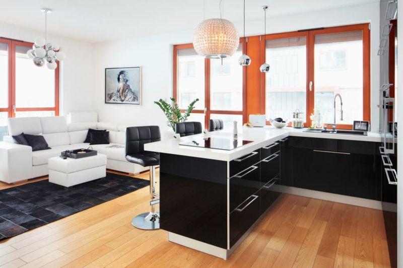 Wohnküche modern und praktisch gestalten \u2013 40 tolle Einrichtungsideen - kuche wohnzimmer offen modern