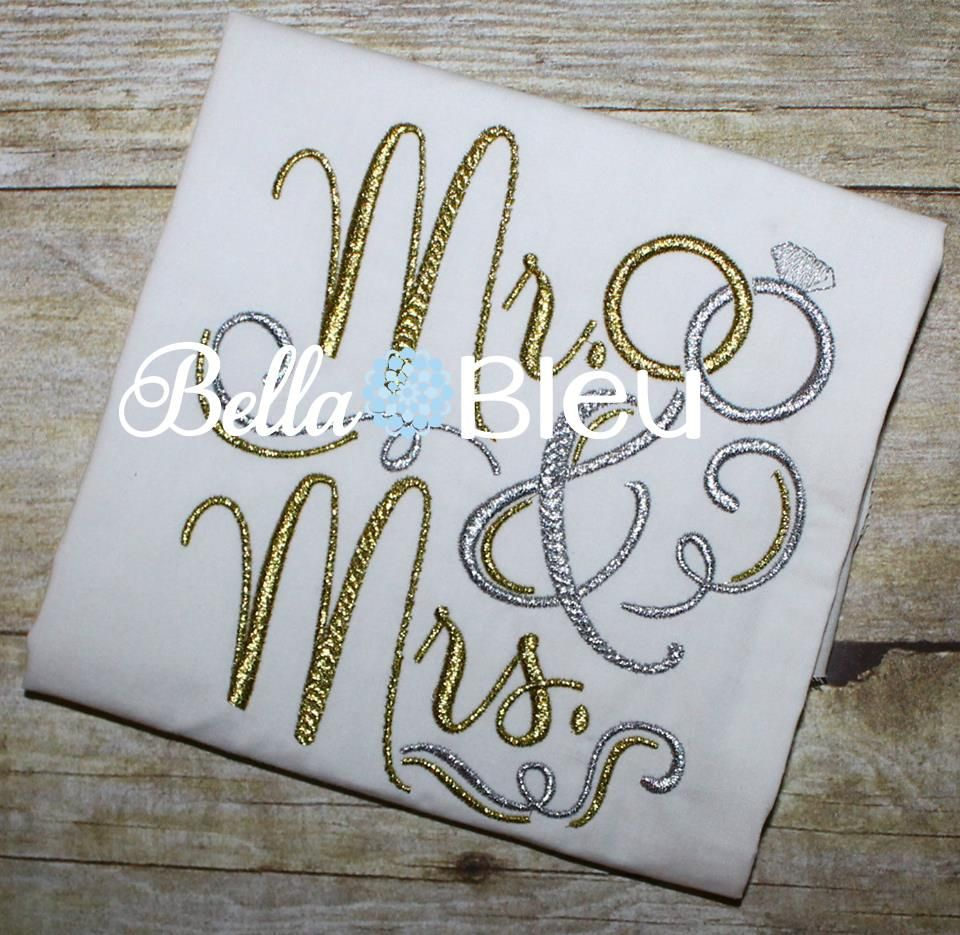 mr and mrs wedding rings machine embroidery design   machine