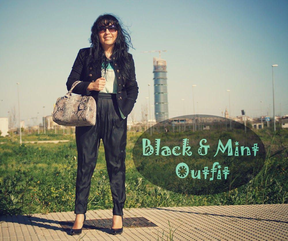 Black & #Mint #Outfit http://tupersonalshopperviajero.blogspot.com.es/2014/04/black-mint-outfit.html