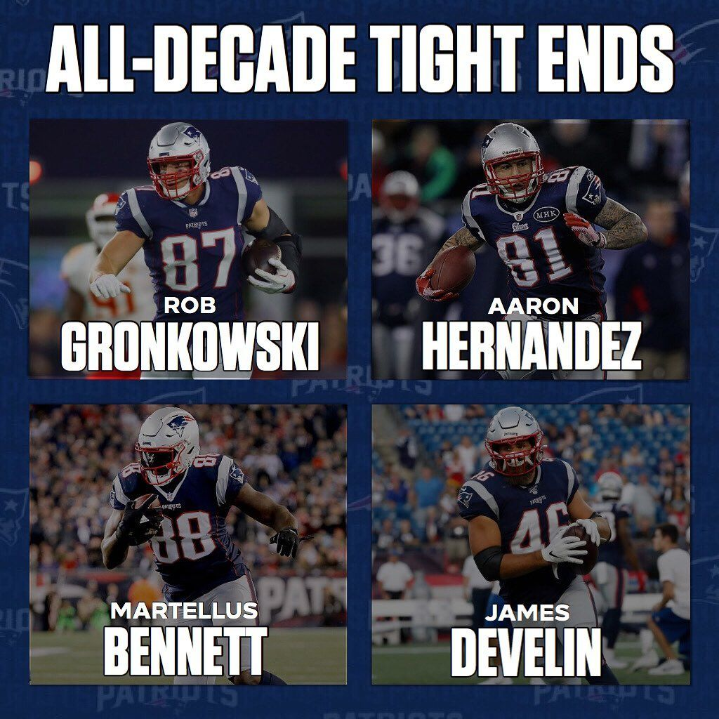 Next On My Patriots All Decade Roster Is The Tight Ends As Well As A Fullback I Elected To Go With Three Tight New England Patriots England Patriots Patriots
